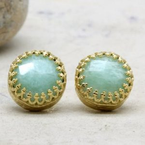 Shop Amazonite Jewelry! amazonite earrings,sky blue earrings,gold post earrings,gemstone earrings,14k gold earrings | Natural genuine Amazonite jewelry. Buy crystal jewelry, handmade handcrafted artisan jewelry for women.  Unique handmade gift ideas. #jewelry #beadedjewelry #beadedjewelry #gift #shopping #handmadejewelry #fashion #style #product #jewelry #affiliate #ad