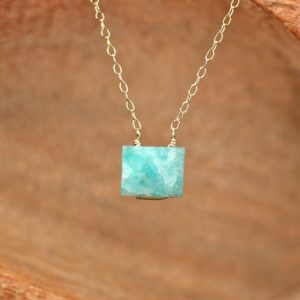 Shop Amazonite Necklaces! Amazonite necklace – cube necklace – rectangle necklace – crystal necklace – geometric necklace – green stone necklace – AM7OC | Natural genuine Amazonite necklaces. Buy crystal jewelry, handmade handcrafted artisan jewelry for women.  Unique handmade gift ideas. #jewelry #beadednecklaces #beadedjewelry #gift #shopping #handmadejewelry #fashion #style #product #necklaces #affiliate #ad