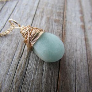 Shop Amazonite Pendants! Amazonite Pendant, Gold Wire Wrapped, Matte Finish, Amazonite Necklace | Natural genuine Amazonite pendants. Buy crystal jewelry, handmade handcrafted artisan jewelry for women.  Unique handmade gift ideas. #jewelry #beadedpendants #beadedjewelry #gift #shopping #handmadejewelry #fashion #style #product #pendants #affiliate #ad