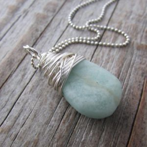 Shop Amazonite Pendants! Amazonite Necklace, Raw, Matte Finish, Pale Blue, Smooth, Wire Wrapped Gemstone Pendant | Natural genuine Amazonite pendants. Buy crystal jewelry, handmade handcrafted artisan jewelry for women.  Unique handmade gift ideas. #jewelry #beadedpendants #beadedjewelry #gift #shopping #handmadejewelry #fashion #style #product #pendants #affiliate #ad