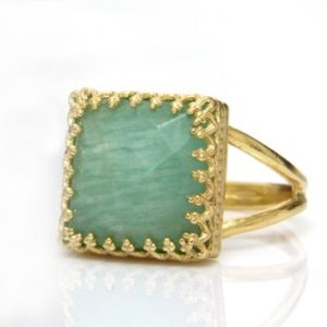 Shop Amazonite Rings! 14k Gold Amazonite Ring, square Gold Ring, gemstone Ring, bridal Ring, bridesmaid Gifts, natural Stone Ring | Natural genuine Amazonite rings, simple unique alternative gemstone engagement rings. #rings #jewelry #bridal #wedding #jewelryaccessories #engagementrings #weddingideas #affiliate #ad