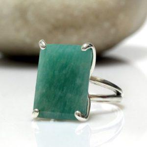 Shop Amazonite Rings! Silver Ring, amazonite Ring, rectangular Ring, long Ring, statement Ring, blue Stone Ring, prong Setting Ring, semiprecious | Natural genuine Amazonite rings, simple unique handcrafted gemstone rings. #rings #jewelry #shopping #gift #handmade #fashion #style #affiliate #ad