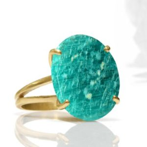 Gold Statement Ring · Amazonite Ring · Gemstone Ring · Gold Blue Ring · Oval Ring · Semiprecious Ring · Stone Ring · Gold Stacking | Natural genuine Amazonite rings, simple unique handcrafted gemstone rings. #rings #jewelry #shopping #gift #handmade #fashion #style #affiliate #ad