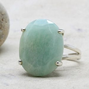 Shop Amazonite Rings! Silver Ring, cocktail Ring, silver Stone Ring, amazonite Ring, oval Ring, prong Setting Ring, double Band Ring | Natural genuine Amazonite rings, simple unique handcrafted gemstone rings. #rings #jewelry #shopping #gift #handmade #fashion #style #affiliate #ad