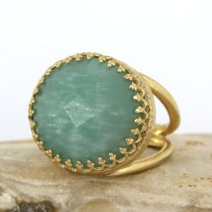 Shop Amazonite Rings! Amazonite Ring, semiprecious Ring, sky Blue Ring, bridal Ring, wedding Ring, gold Wow Ring, double Band Ring | Natural genuine Amazonite rings, simple unique alternative gemstone engagement rings. #rings #jewelry #bridal #wedding #jewelryaccessories #engagementrings #weddingideas #affiliate #ad