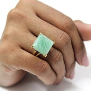 Shop Amazonite Jewelry! square Amazonite ring,gold ring,cocktail ring,large stone ring,square ring,customize rings,amazonite jewelry | Natural genuine Amazonite jewelry. Buy crystal jewelry, handmade handcrafted artisan jewelry for women.  Unique handmade gift ideas. #jewelry #beadedjewelry #beadedjewelry #gift #shopping #handmadejewelry #fashion #style #product #jewelry #affiliate #ad