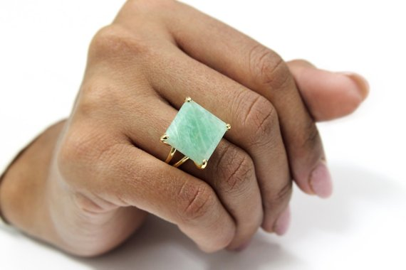 Square Amazonite Ring · Gold Ring · Cocktail Ring · Large Stone Ring · Square Ring · Custom Rings · Amazonite Jewelry · Bridal Ring