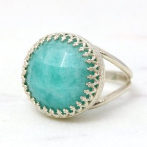 Shop Amazonite Jewelry! Amazonite ring,silver ring,semiprecious ring,faceted gemstone ring,silver jewelry,bright blue ring,sky blue ring | Natural genuine Amazonite jewelry. Buy crystal jewelry, handmade handcrafted artisan jewelry for women.  Unique handmade gift ideas. #jewelry #beadedjewelry #beadedjewelry #gift #shopping #handmadejewelry #fashion #style #product #jewelry #affiliate #ad