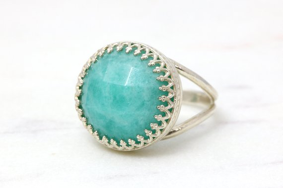 Amazonite Ring,silver Ring,semiprecious Ring,faceted Gemstone Ring,silver Jewelry,bright Blue Ring,sky Blue Ring