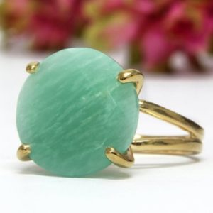 Shop Amazonite Rings! amazonite ring,round cocktail ring,gold ring,statement ring,gold stack wow ring,gemstone ring | Natural genuine Amazonite rings, simple unique handcrafted gemstone rings. #rings #jewelry #shopping #gift #handmade #fashion #style #affiliate #ad