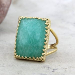 Shop Amazonite Rings! Amazonite Ring, rectangular Ring, gold Ring, gold Filled Ring, gemstone Ring, statement Ring, big Ring | Natural genuine Amazonite rings, simple unique handcrafted gemstone rings. #rings #jewelry #shopping #gift #handmade #fashion #style #affiliate #ad