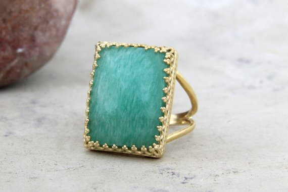 Amazonite Ring,rectangular Ring,gold Ring,gold Filled Ring,gemstone Ring,statement Ring,big Ring