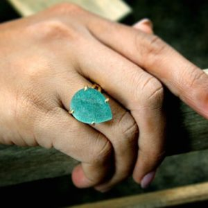 Shop Amazonite Rings! Gold Teardrop Ring, gemstone Ring, double Band Ring, amazonite Ring, dark Blue Ring, sky Blue Ring, gold Filled Ring, gold | Natural genuine Amazonite rings, simple unique handcrafted gemstone rings. #rings #jewelry #shopping #gift #handmade #fashion #style #affiliate #ad