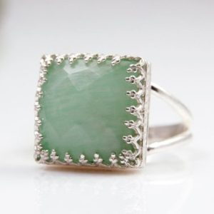 Shop Amazonite Rings! Amazonite Ring, silver Ring, birthday Ring, i Love You Gift, girlfriend Gift, love Ring, sky Blue Ring, square Ring | Natural genuine Amazonite rings, simple unique handcrafted gemstone rings. #rings #jewelry #shopping #gift #handmade #fashion #style #affiliate #ad