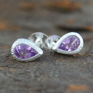 Shop Amethyst Earrings! Amethyst Studs, Amethyst Stud Earrings, Teardrop Studs, Stud Earrings, Gemstone Studs, Round Studs, February Birthstone, 925 Silver Earrings | Natural genuine Amethyst earrings. Buy crystal jewelry, handmade handcrafted artisan jewelry for women.  Unique handmade gift ideas. #jewelry #beadedearrings #beadedjewelry #gift #shopping #handmadejewelry #fashion #style #product #earrings #affiliate #ad