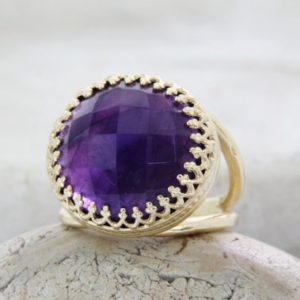 Amethyst ring,14k gold ring,February birthstone ring,gemstone ring,statement ring,anniversary gift | Natural genuine Gemstone rings, simple unique handcrafted gemstone rings. #rings #jewelry #shopping #gift #handmade #fashion #style #affiliate #ad