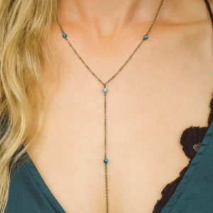 "Shop Apatite Necklaces! Blue apatite crystal beaded chain lariat necklace in bronze, silver, gold or rose gold – 16"" chain with 2"" adjustable extender and 4"" drop 