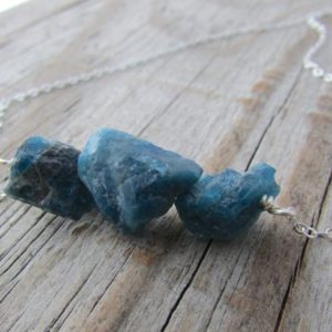 Shop Apatite Necklaces! Apatite Necklace, raw apatite, gemstone nuggets, rough blue stone necklace | Natural genuine Apatite necklaces. Buy crystal jewelry, handmade handcrafted artisan jewelry for women.  Unique handmade gift ideas. #jewelry #beadednecklaces #beadedjewelry #gift #shopping #handmadejewelry #fashion #style #product #necklaces #affiliate #ad