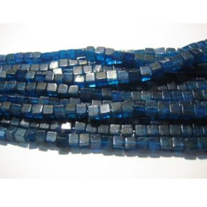 3-5mm Blue Apatite Plain Box Beads, Natural Blue Apatite Cube Beads, Blue Apatite Square Box Beads for Jewelry (8IN To 16IN Options) – ABPBC | Natural genuine other-shape Apatite beads for beading and jewelry making.  #jewelry #beads #beadedjewelry #diyjewelry #jewelrymaking #beadstore #beading #affiliate #ad