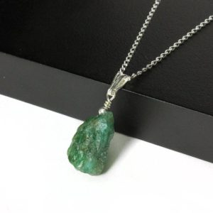 Shop Apatite Pendants! Apatite Necklace Sterling Silver – Emerald Green Apatite Pendant – Irregular Shaped Natural Rough Apatite Necklace – Rough Gemstone Jewelry | Natural genuine Apatite pendants. Buy crystal jewelry, handmade handcrafted artisan jewelry for women.  Unique handmade gift ideas. #jewelry #beadedpendants #beadedjewelry #gift #shopping #handmadejewelry #fashion #style #product #pendants #affiliate #ad