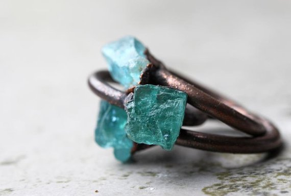 Apatite Ring - Blue Apatite Ring - Natural Blue Stone - Blue Crystal Ring - Engagement Ring