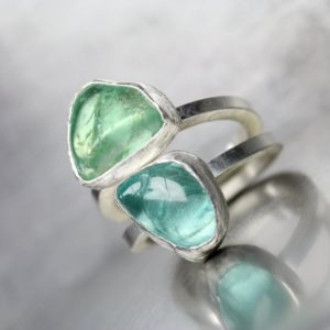 Shop Apatite Rings! Large Rough Tumbled Apatite Stacking Ring Set Silver Blue Green Winter Ice Raw Clear Gemstone Mint Aqua Colors Rustic Bezel Gift – Icy Twins | Natural genuine Apatite rings, simple unique handcrafted gemstone rings. #rings #jewelry #shopping #gift #handmade #fashion #style #affiliate #ad