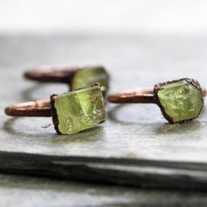 Shop Apatite Rings! Raw Crystal Ring – Yellow Apatite Stone – Electroformed Ring – Copper Ring | Natural genuine Apatite rings, simple unique handcrafted gemstone rings. #rings #jewelry #shopping #gift #handmade #fashion #style #affiliate #ad