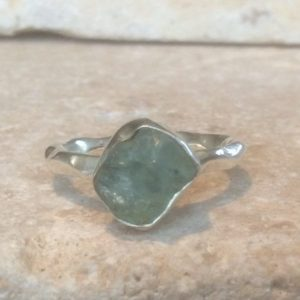 Shop Apatite Rings! Raw Apatite Silver Ring, Rough Natural Blue Gemstone Ring, Womens Rings with Stones | Natural genuine Apatite rings, simple unique handcrafted gemstone rings. #rings #jewelry #shopping #gift #handmade #fashion #style #affiliate #ad