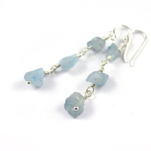 Shop Aquamarine Earrings! Aquamarine Earrings Sterling Silver – Triple Raw Aquamarine Stones – Irregular Shape – March Birthstone | Natural genuine Aquamarine earrings. Buy crystal jewelry, handmade handcrafted artisan jewelry for women.  Unique handmade gift ideas. #jewelry #beadedearrings #beadedjewelry #gift #shopping #handmadejewelry #fashion #style #product #earrings #affiliate #ad
