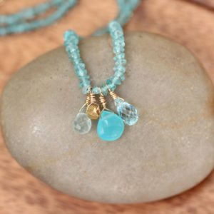 Shop Aquamarine Necklaces! Aquamarine necklace – beaded gemstone necklace – chalcedony necklace – crystal necklace – gemstone necklace | Natural genuine Aquamarine necklaces. Buy crystal jewelry, handmade handcrafted artisan jewelry for women.  Unique handmade gift ideas. #jewelry #beadednecklaces #beadedjewelry #crystaljewelry #gemstonejewelry #handmadejewelry #necklaces #affiliate