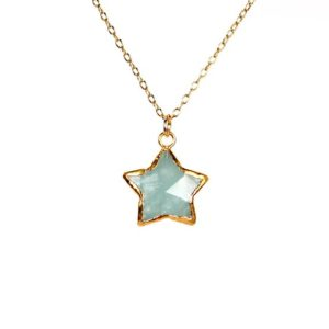 Aquamarine necklace – star necklace – gold star necklace – crystal star necklace | Natural genuine Aquamarine necklaces. Buy crystal jewelry, handmade handcrafted artisan jewelry for women.  Unique handmade gift ideas. #jewelry #beadednecklaces #beadedjewelry #gift #shopping #handmadejewelry #fashion #style #product #necklaces #affiliate #ad