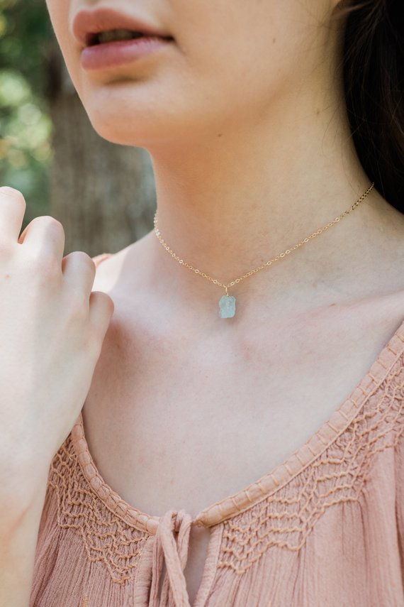 "Tiny Raw Blue Aquamarine Gemstone Pendant Choker Necklace In Gold, Silver, Bronze Or Rose Gold. 12"" Chain With 2"" Extender. March Birthstone"