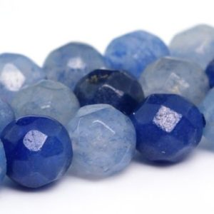 "Shop Aventurine Faceted Beads! 4MM Blue Aventurine Beads Grade AAA Natural Gemstone Faceted Round Loose Beads 15""/ 7.5"" Bulk Lot Options (100901) 