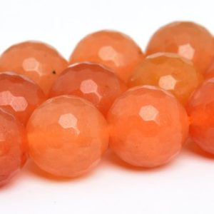 "Shop Aventurine Faceted Beads! 8MM Orange Aventurine Beads Grade AAA Natural Gemstone Full Strand Micro Faceted Round Loose Beads 15"" BULK LOT 1,3,5,10 and 50 (100867-154) 