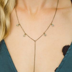 """Shop Aventurine Necklaces! Green aventurine boho bead drop lariat necklace in bronze, silver, gold or rose gold – 18"""" chain with 2"""" adjustable extender and 3"""" drop 