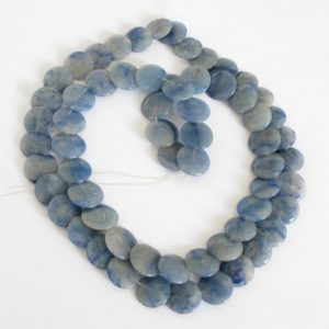 Shop Aventurine Bead Shapes! 16mm Blue Aventurine Beads, 16mm Stacking Coin Blue Aventurine Bead Strand, Full Strand, Natural Gemstone, 16mm Aventurine, Ave205 | Natural genuine other-shape Aventurine beads for beading and jewelry making.  #jewelry #beads #beadedjewelry #diyjewelry #jewelrymaking #beadstore #beading #affiliate #ad