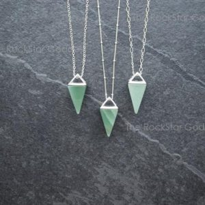 Aventurine Necklace / Aventurine / Stone of Prosperity / Aventurine Pendant / Aventurine Pyramid / Silver Aventurine / Aventurine Jewelry | Natural genuine Aventurine pendants. Buy crystal jewelry, handmade handcrafted artisan jewelry for women.  Unique handmade gift ideas. #jewelry #beadedpendants #beadedjewelry #gift #shopping #handmadejewelry #fashion #style #product #pendants #affiliate #ad