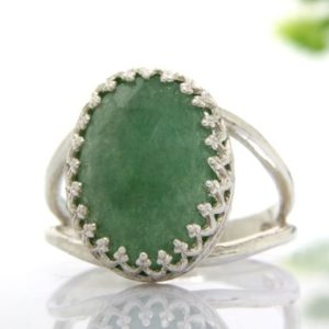Shop Aventurine Rings! Sterling silver ring,green aventurine ring,double band oval ring,prong setting ring,cocktail ring,gemstone ring | Natural genuine Aventurine rings, simple unique handcrafted gemstone rings. #rings #jewelry #shopping #gift #handmade #fashion #style #affiliate #ad