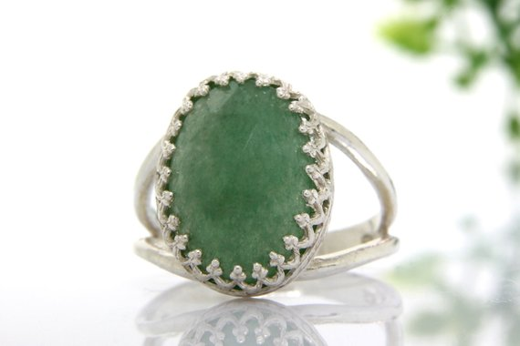 Sterling Silver Ring,green Aventurine Ring,double Band Oval Ring,prong Setting Ring,cocktail Ring,gemstone Ring