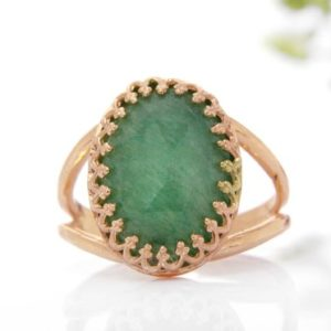 Rose Gold Aventurine Ring, green Ring, gemstone Ring, green Aventurine Ring, semiprecious Ring | Natural genuine Aventurine rings, simple unique handcrafted gemstone rings. #rings #jewelry #shopping #gift #handmade #fashion #style #affiliate #ad