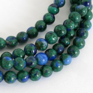 Shop Azurite Round Beads! 4mm Malachite And Azurite Beads, 4mm Round Beads, Green And Blue Beads, Smooth Round 4mm Beads, Full Strand,  Mala200 | Natural genuine round Azurite beads for beading and jewelry making.  #jewelry #beads #beadedjewelry #diyjewelry #jewelrymaking #beadstore #beading #affiliate #ad