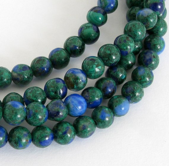 4mm Malachite And Azurite Beads, 4mm Round Beads, Green And Blue Beads, Smooth Round 4mm Beads, Full Strand,  Mala200