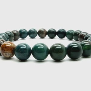Shop Bloodstone Bracelets! Bloodstone Bracelet Boutique Stretch Green Red Round Handmade Prayer Bead Meditation (7mm, 9mm) | Natural genuine Bloodstone bracelets. Buy crystal jewelry, handmade handcrafted artisan jewelry for women.  Unique handmade gift ideas. #jewelry #beadedbracelets #beadedjewelry #gift #shopping #handmadejewelry #fashion #style #product #bracelets #affiliate #ad