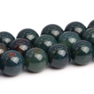 "Shop Bloodstone Beads! 4MM Dark Green Blood stone Beads Grade AAA Genuine Natural Gemstone Full Strand Round Loose Beads 15"" BULK LOT 1,3,5,10 and 50 (103471-792) 