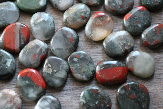 African Bloodstone Small Flat Disk J114