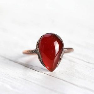 Shop Carnelian Jewelry! Carnelian Ring – Electroformed Copper Jewelry – Polished Orange Stone Ring | Natural genuine Carnelian jewelry. Buy crystal jewelry, handmade handcrafted artisan jewelry for women.  Unique handmade gift ideas. #jewelry #beadedjewelry #beadedjewelry #gift #shopping #handmadejewelry #fashion #style #product #jewelry #affiliate #ad