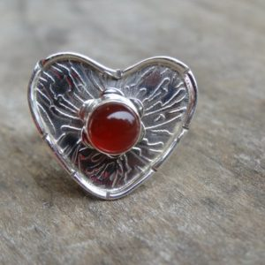 Shop Carnelian Rings! Sterling Silver Natural Carnelian Stone Ring Size 8 Sterling Silver Ring Heart Ring- CARNELIAN – Natural Stone Ring Size 8 | Natural genuine Carnelian rings, simple unique handcrafted gemstone rings. #rings #jewelry #shopping #gift #handmade #fashion #style #affiliate #ad