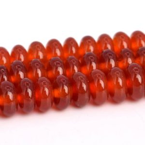Shop Carnelian Rondelle Beads! Red Carnelian Beads Grade AAA Genuine Natural Gemstone Rondelle Loose Beads 4x3MM 6x3MM 8X4MM Bulk Lot Options | Natural genuine rondelle Carnelian beads for beading and jewelry making.  #jewelry #beads #beadedjewelry #diyjewelry #jewelrymaking #beadstore #beading #affiliate #ad