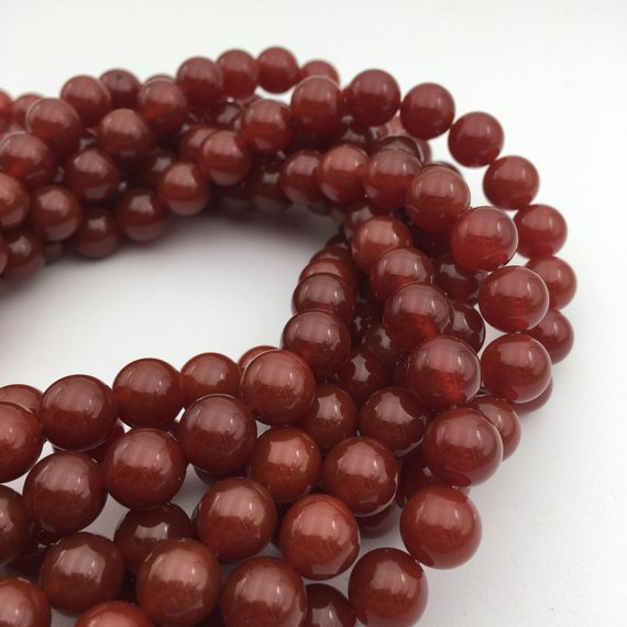 """Carnelian Smooth Round Beads 4mm 6mm 8mm 10mm 12mm 14mm 15.5"""" Strand"""
