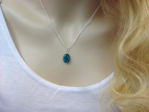 Chrysocolla Necklace, Natural Stone Pendant In Sterling Silver Or Gold, Layering Necklace